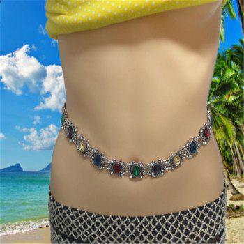 Vintage crystal waist chain - COLORFUL