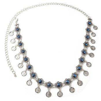 3 Styles Pearl diamond silver plated gold plated trendy Flower Waist chain Jewelry - BLUE