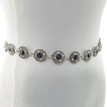 3 Styles Pearl diamond silver plated gold plated trendy Flower Waist chain Jewelry - BLACK BLACK