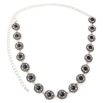 3 Styles Pearl diamond silver plated gold plated trendy Flower Waist chain Jewelry -  BLACK