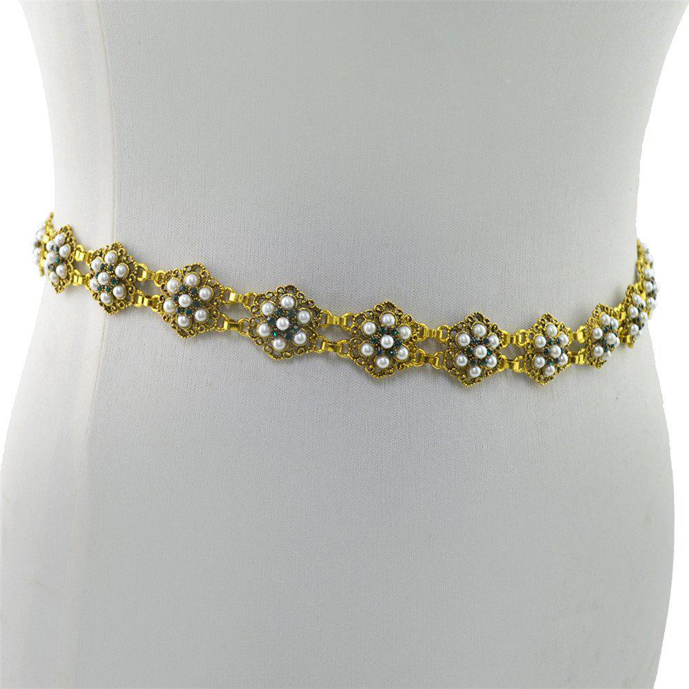 3 Styles Pearl diamond silver plated gold plated trendy Flower Waist chain Jewelry - GOLDEN