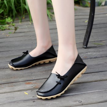 Large Size Loose Flat Shoes - BLACK BLACK