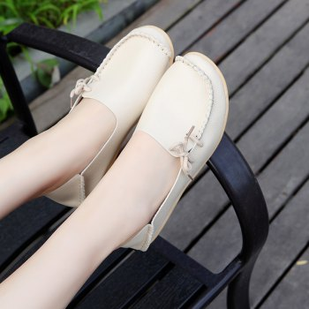 Large Size Loose Flat Shoes - BEIGE 43