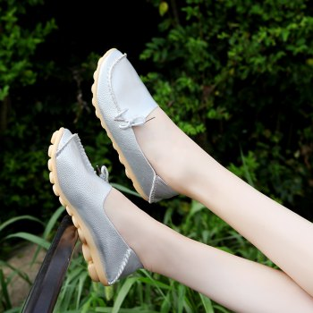 Large Size Loose Flat Shoes - SILVER SILVER