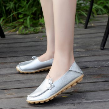 Large Size Loose Flat Shoes - SILVER 40