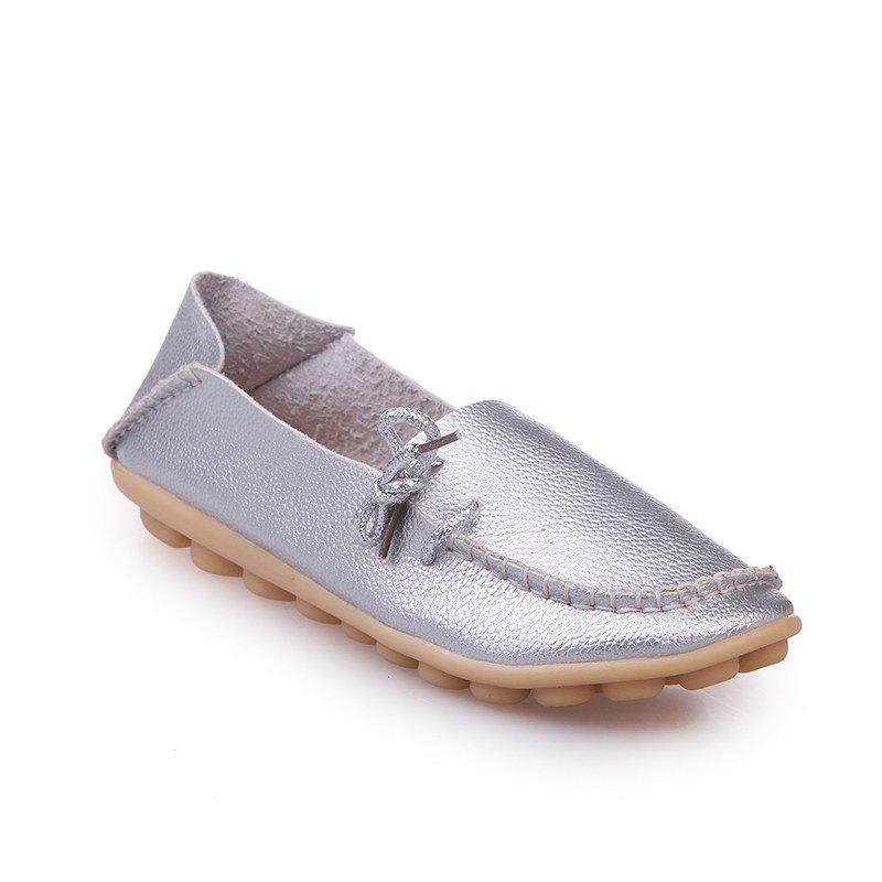 Large Size Loose Flat Shoes - SILVER 37