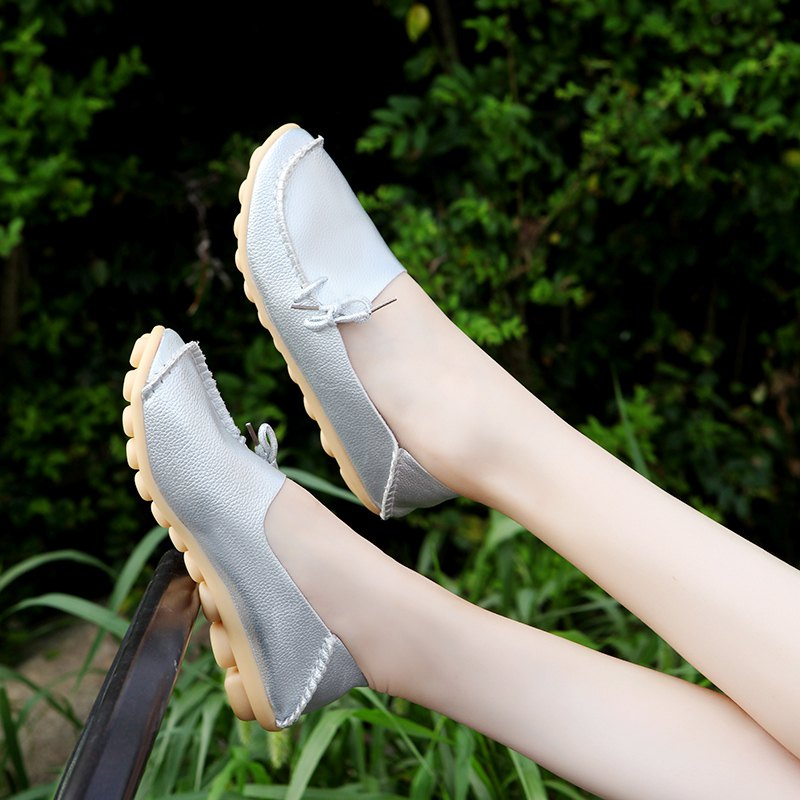 Large Size Loose Flat Shoes - SILVER 38