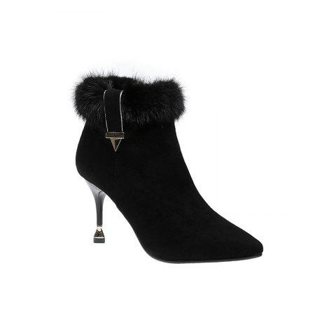 2017 Winter New High Heel Pointed Heel and Ankle Boots Suede Boots - BLACK 35