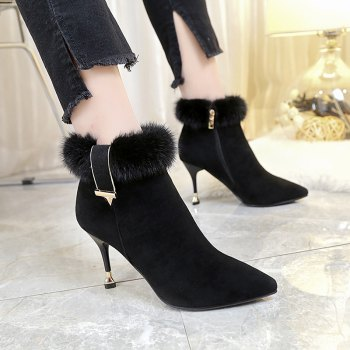2017 Winter New High Heel Pointed Heel and Ankle Boots Suede Boots - BLACK BLACK