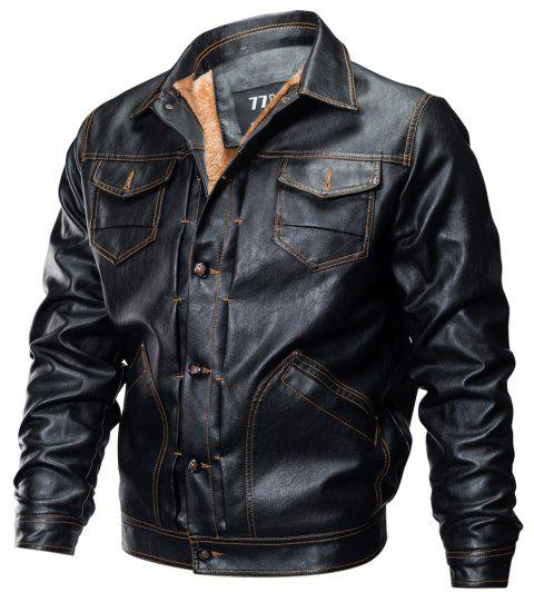 Winter New Mens PU Leather Stand Collar Retro Thick Motorcycle Jackets - BLACK M
