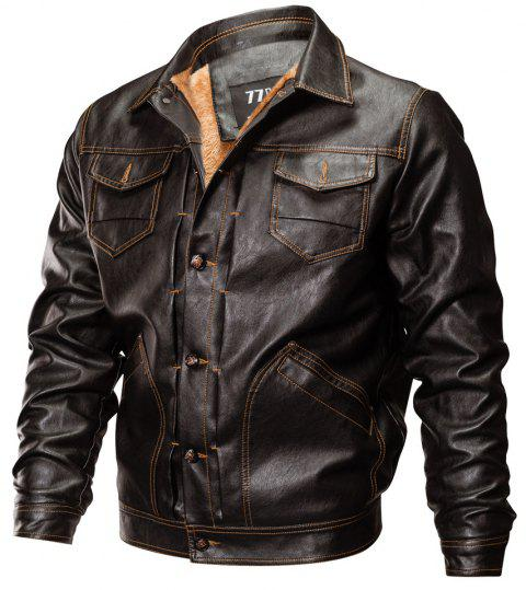 Winter New Mens PU Leather Stand Collar Retro Thick Motorcycle Jackets - BROWN L
