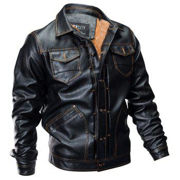 Winter New Mens PU Leather Stand Collar Retro Thick Motorcycle Jackets - BLACK 2XL