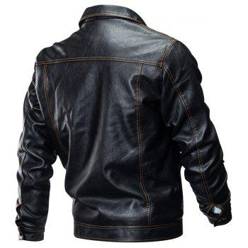 Winter New Mens PU Leather Stand Collar Retro Thick Motorcycle Jackets - BLACK 3XL