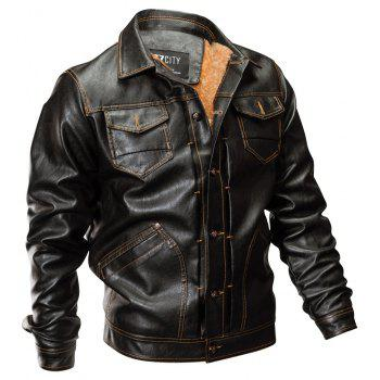 Winter New Mens PU Leather Stand Collar Retro Thick Motorcycle Jackets - BROWN XL