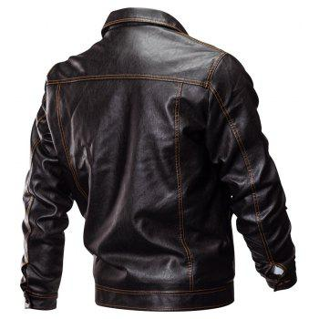 Winter New Mens PU Leather Stand Collar Retro Thick Motorcycle Jackets - BROWN M