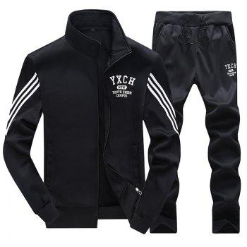 Male Youth Fashion Sportswear Men'S Casual Suit - BLACK BLACK