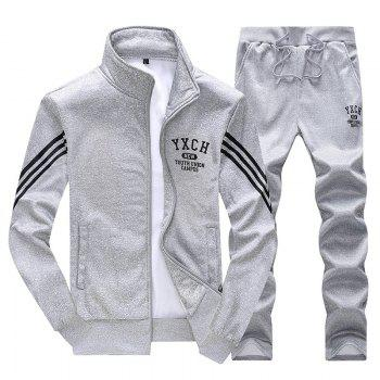 Male Youth Fashion Sportswear Men'S Casual Suit - GRAY GRAY