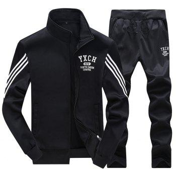 Male Youth Fashion Sportswear Men'S Casual Suit - BLACK 3XL