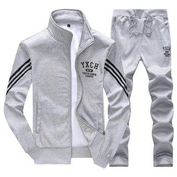 Male Youth Fashion Sportswear Men'S Casual Suit - GRAY XL