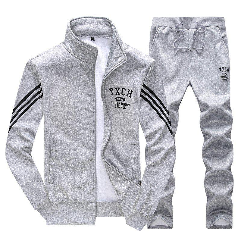 Male Youth Fashion Sportswear Men'S Casual Suit - GRAY 4XL