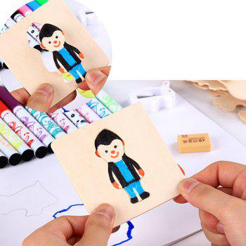 Children coloring Color Painting Template Early Education Wisdom - WOODEN VERSION WOODEN VERSION