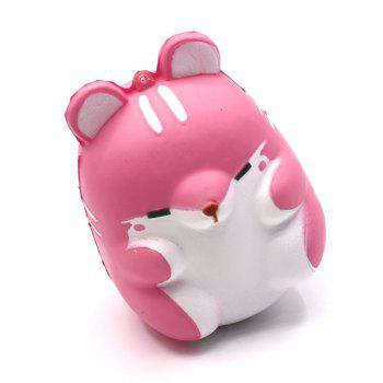 Cute Kawaii Soft Squishy Squishi Colorful Simulation Hamster Toy Slow Rising for Relieves Stress Anxiety Home Decoration - PINK PINK