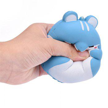 Cute Kawaii Soft Squishy Squishi Colorful Simulation Hamster Toy Slow Rising for Relieves Stress Anxiety Home Decoration - BLUE