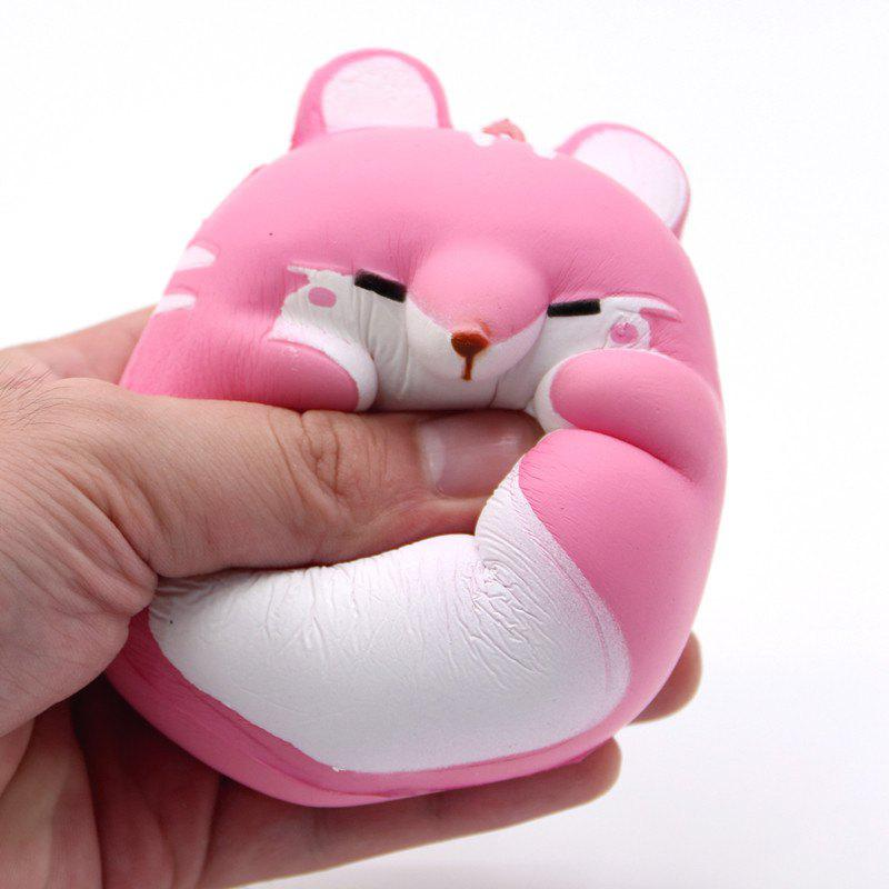 Cute Kawaii Soft Squishy Squishi Colorful Simulation Hamster Toy Slow Rising for Relieves Stress Anxiety Home Decoration - PINK