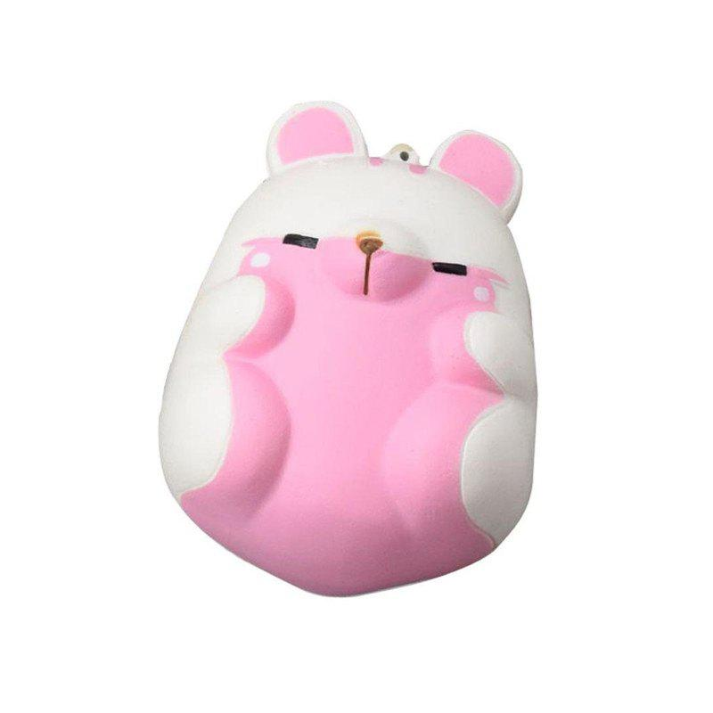 Cute Kawaii Soft Squishy Squishi Colorful Simulation Hamster Toy Slow Rising for Relieves Stress Anxiety Home Decoration - WHITE
