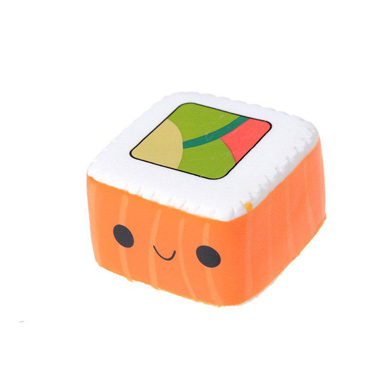 Kawaii Cartoon Face Pendant Stretchy Bread Squishy Cute Yummy Sushi Slow Rising Cake Kids Fun Toy Gift Phone straps - ORANGE