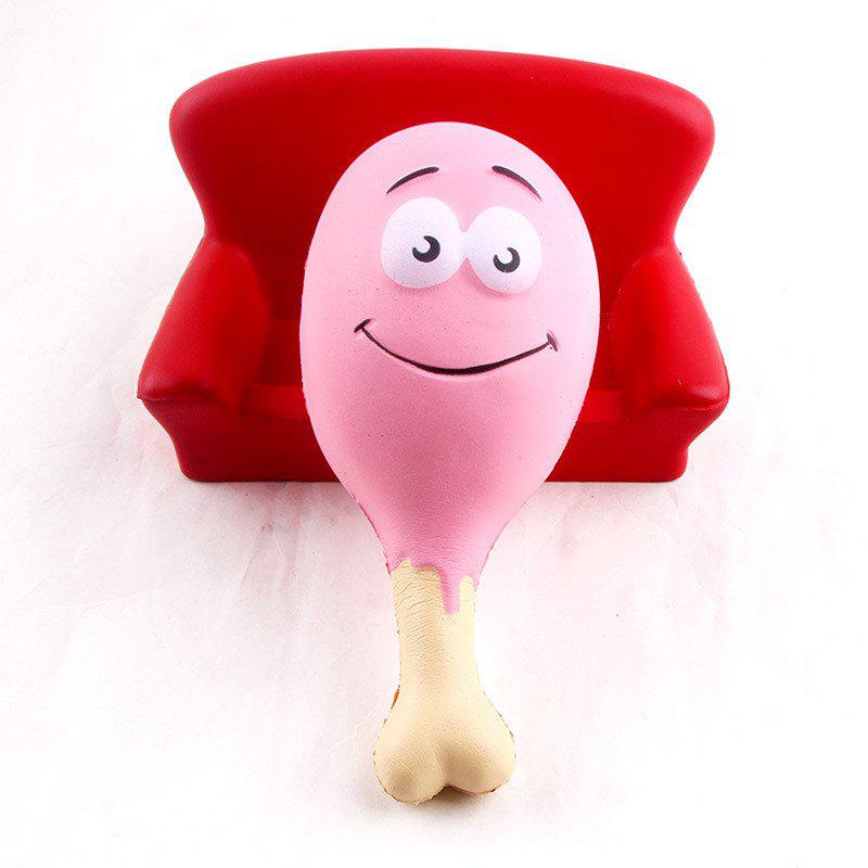 15CM Chicken Leg Smile Face Phone Accessories Squishy Stress Stretch Scented Squeeze Soft Slow Rising Kid Toy - PINK