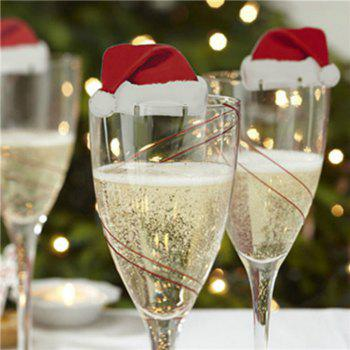 10 pcs Table Place Cards Christmas Santa Hat Wine Glass Decoration - RED RED