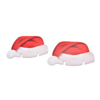 10 pcs Table Place Cards Christmas Santa Hat Wine Glass Decoration -  RED