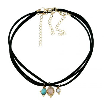 Black Lace Necklace Velvet Necklace Choker - BLACK