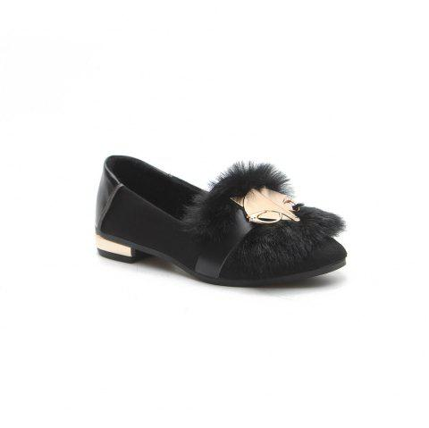 New Autumn Female All-Match Doug Winter Velvet Pedal Lazy Scoop Shoes - BLACK 39