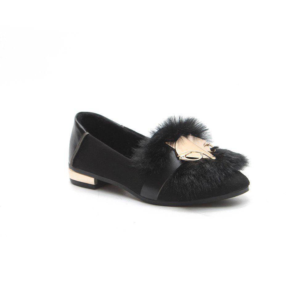 New Autumn Female All-Match Doug Winter Velvet Pedal Lazy Scoop Shoes - BLACK 40