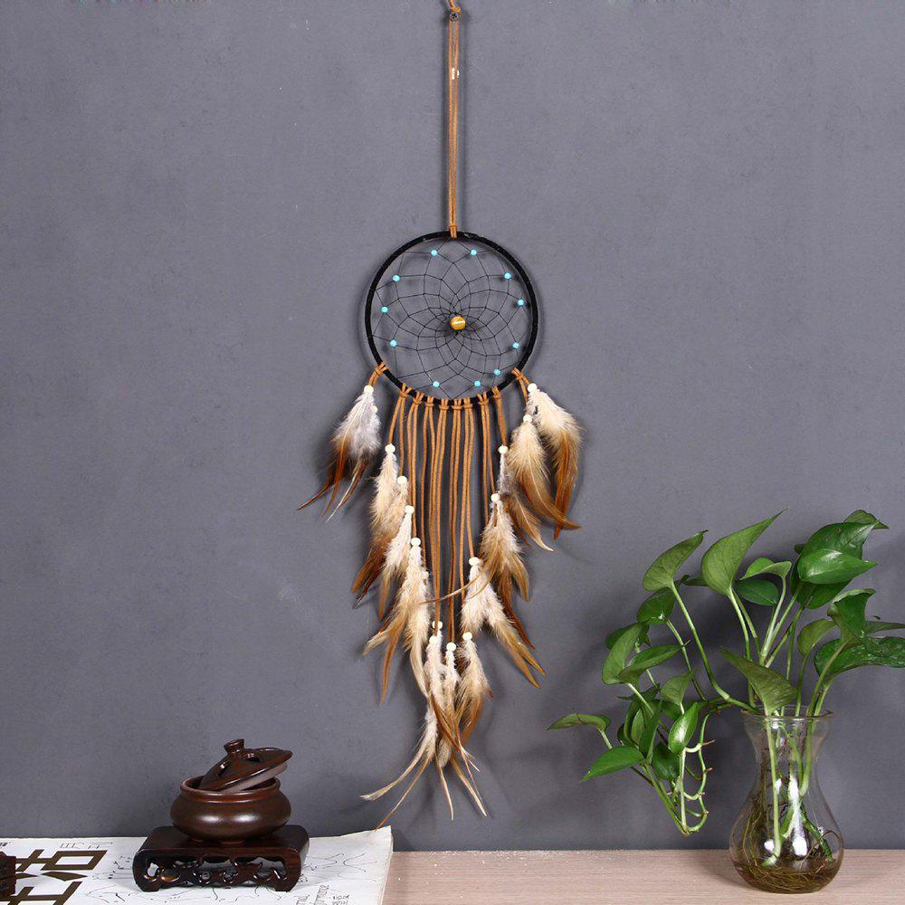 new disign home decor dream catcher circular feathers wall hanging car decoration dreamcatcher ornament gif chic fluorescent circular net with feathers dreamcatcher wall hanging decor