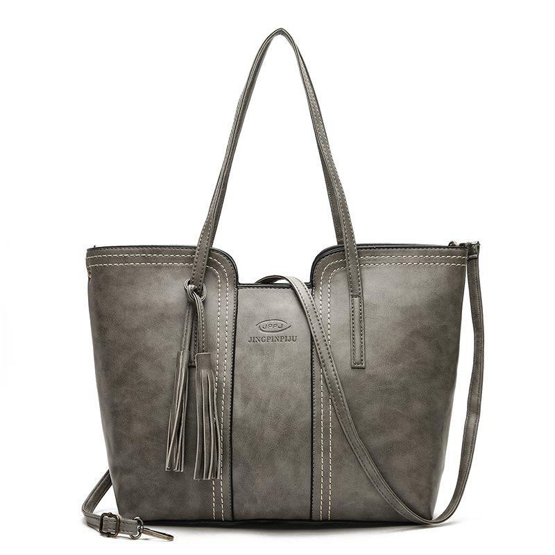 Tote Handbags New Fringed Simple Wild Fashion Casual Portable Shoulder Messenger Bag - GRAY
