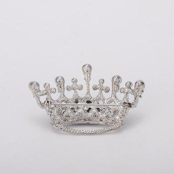 Silver Color Fashion Rhinestone Crystal Crown Brooches Pin Corsage for Woman - SILVER