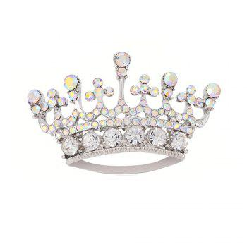 Silver Color Fashion Rhinestone Crystal Crown Brooches Pin Corsage for Woman - SILVER SILVER