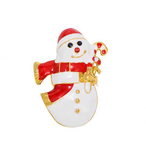 Women's Snowman  Enamel Brooch Pin Christmas Gift - WHITE / RED