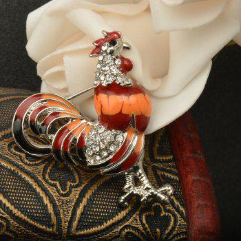 Enameled and Crystal Rhinestones Chicken Rooster Fashion Brooch Pins for Women -  RED