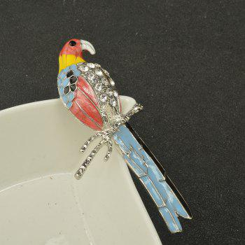 Cute Enamel Colorful Parrot Brooches for Women Fashion Rinestone Design Animal Brooch Pin -  BLUE