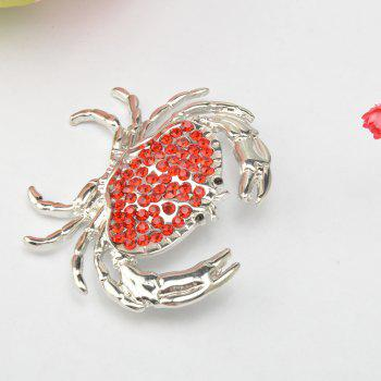 Arrival Animal Brooch Pin Silver-color Sweater Collar Clip Bijouterie Enamel Lifelike Crabs Brooches For Women Shirt -  RED