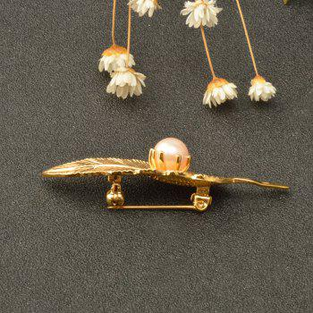 Copper Electroplating gold leaf brooch for Woman Gold Color Pin Pearl Leaves Brooches -  GOLDEN