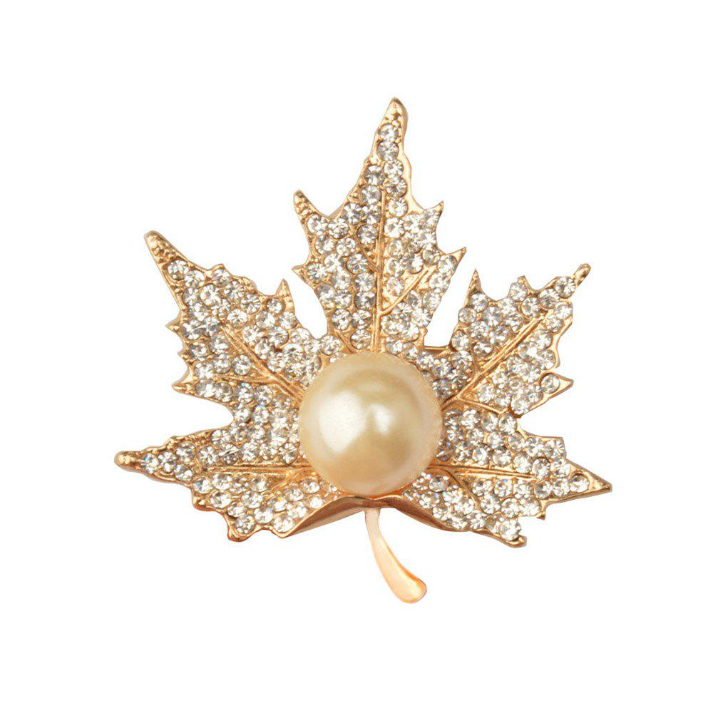 Maple Leaf Brooch Gold Color Brooches Pins Exquisite Collar For Women - GOLDEN