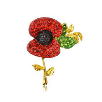 Charming Fashion Jewelry Accessories Royal British Style Brooch Crystal Poppy Flower Brooch Pin - GOLD AND RED GOLD/RED