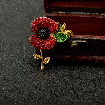 Charming Fashion Jewelry Accessories Royal British Style Brooch Crystal Poppy Flower Brooch Pin -  GOLD/RED