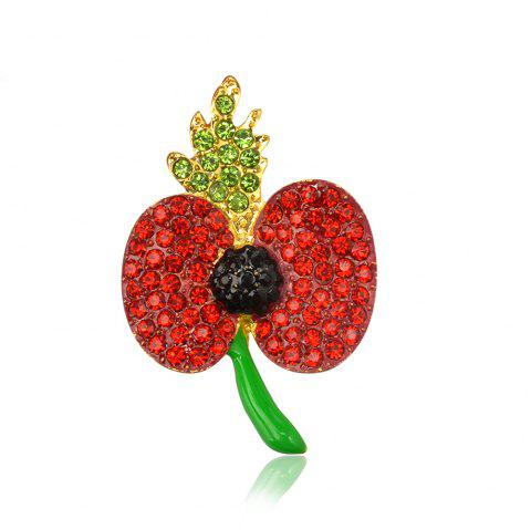 Fashion Red Poppy Flower Brooch Vintage Collar Pins for Woman Jewelry Brooches Pins - RED