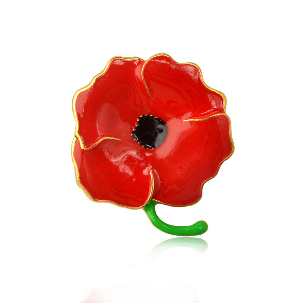 Vintage Red Poppy Flower Brooch Pin Corsage Pins For Women 2016 trendy fabric blooming peony flower corsage brooch woman hair decorations